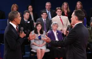 U.S. President Obama and Republican presidential nominee Romney speak directly to each other during the second U.S. presidential campaign debate in Hempstead, New York